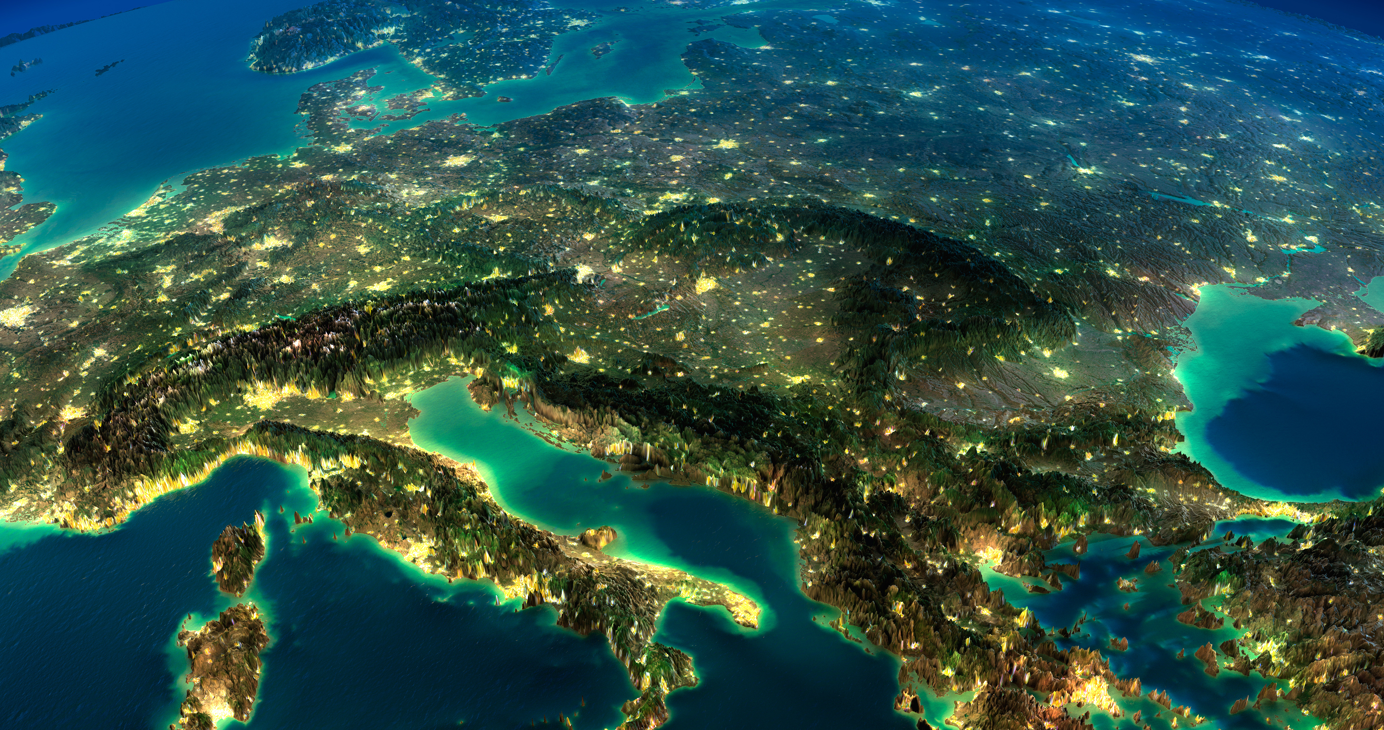 Highly detailed Earth illuminated by moonlight. The glow of cities sheds light on the detailed exaggerated terrain. A piece of Europe - Italy and Greece. Elements of this image furnished by NASA