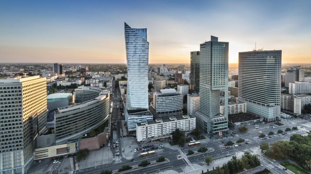 Sundown over Warsaw city capital of Republic of Poland ** Note: Slight graininess, best at smaller sizes
