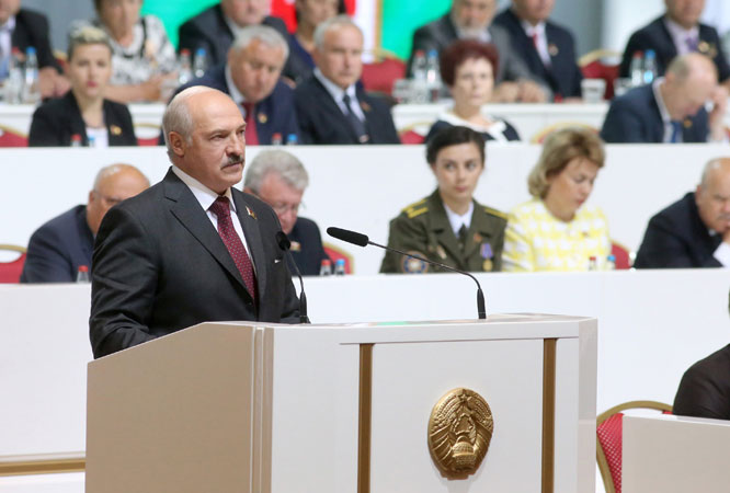 President Lukashenko speaking at the Fifth Belarusian People's Congress (courtesy of president.gov.by)