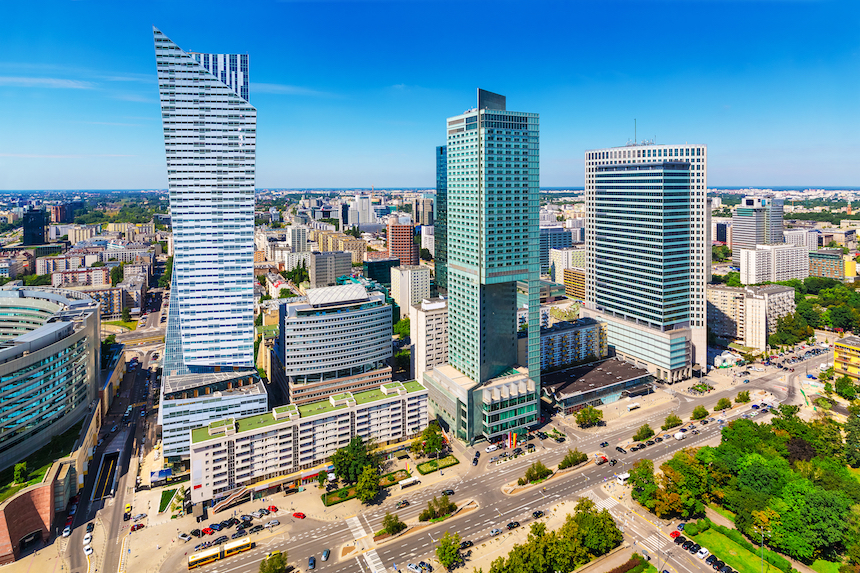 Scenic summer outdoor aerial view of corporate busiWarsaw, Poland
