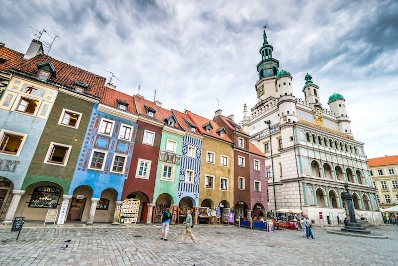 POZNAN, POLAND - AUGUST 21: The central square, Currently, Old Market is the center of tourism Pozna