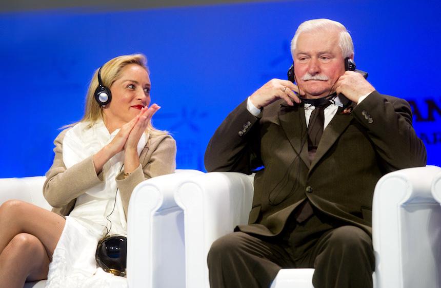 Lech Wałęsa with Sharon Stone (credit: Piotr Bławicki)