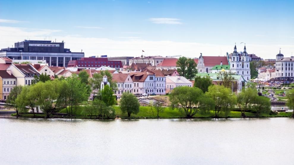 Trinity suburb in Minsk (Nemiga) Belarus on 20 May 2017