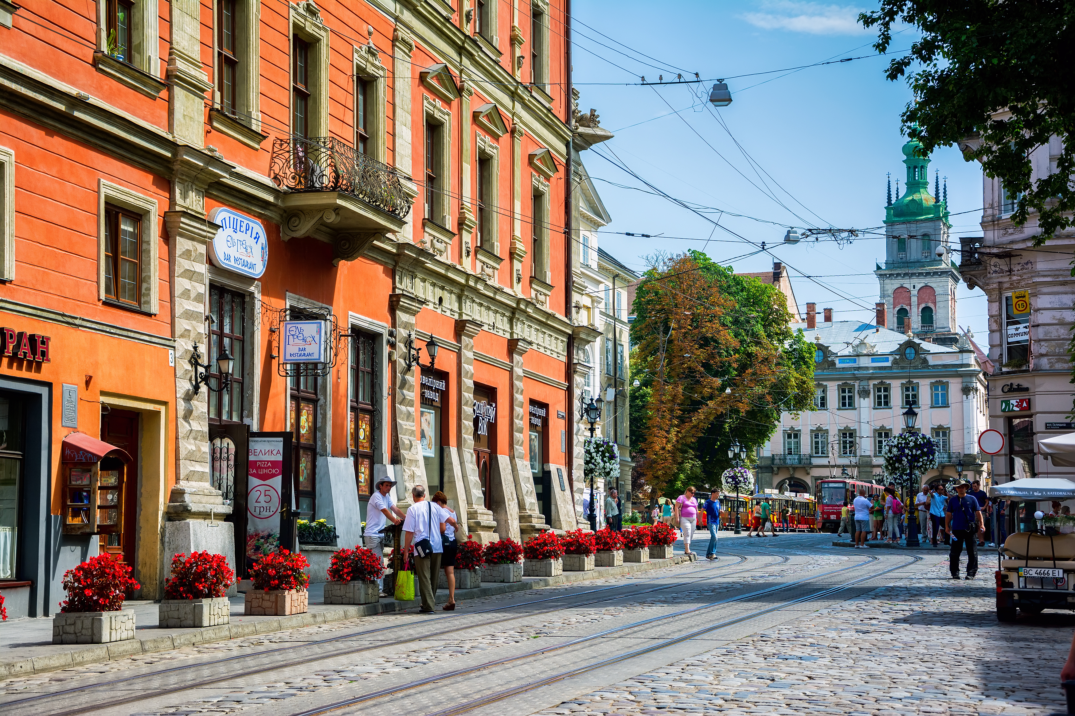 Lviv Ukraine - August 3 2015: Lviv city center. Cathedral and Market square at August 3 2015. Historical old city landscape.
