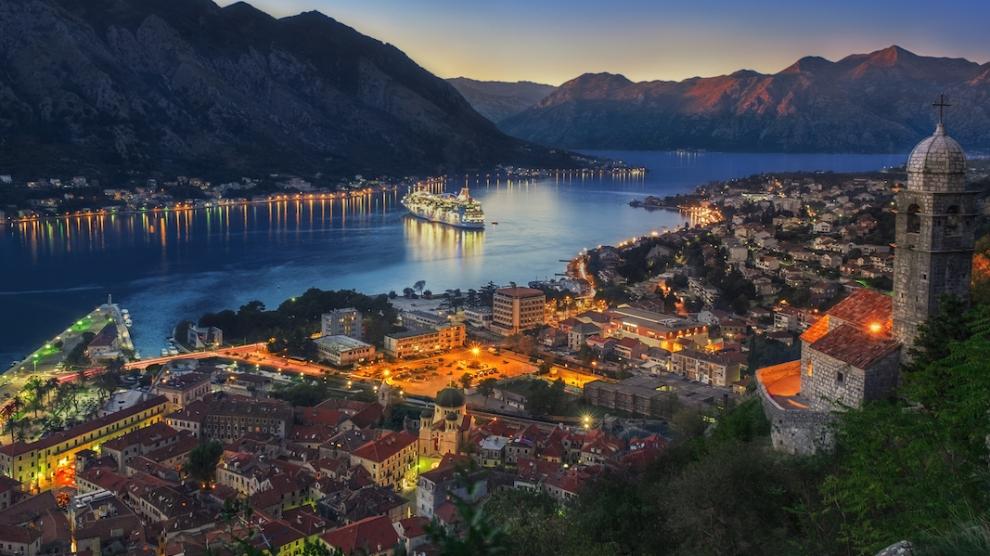 Montenegro Kotor Bay at Sunset. Long exposure photo.