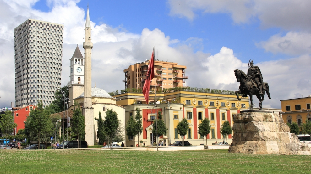 View of the central square with the monument of Skanderbeg in the Albanian capital Tirana