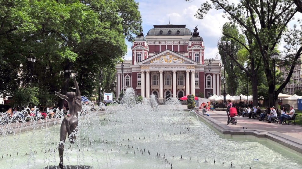 SOFIA BULGARIA - MAY 5: View of the Ivan Vazov National Theatre in Sofia on May 5 2016. Sofia is the largest city and capital of Bulgaria.