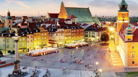 Warsaw Old Town Warsaw Poland during sunset.