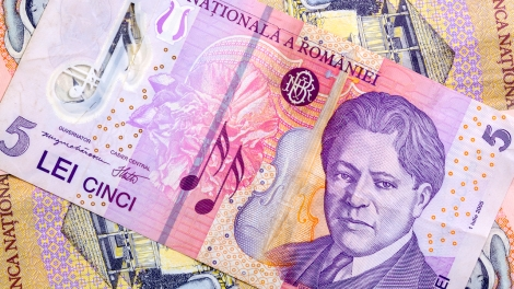 Different Romanian Lei Banknotes on the table