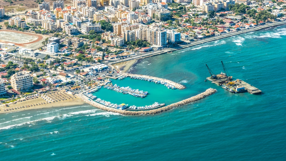 Emerging Europe EBRD Sea port city of Larnaca, Cyprus. This picture was taken through the window of the plane.