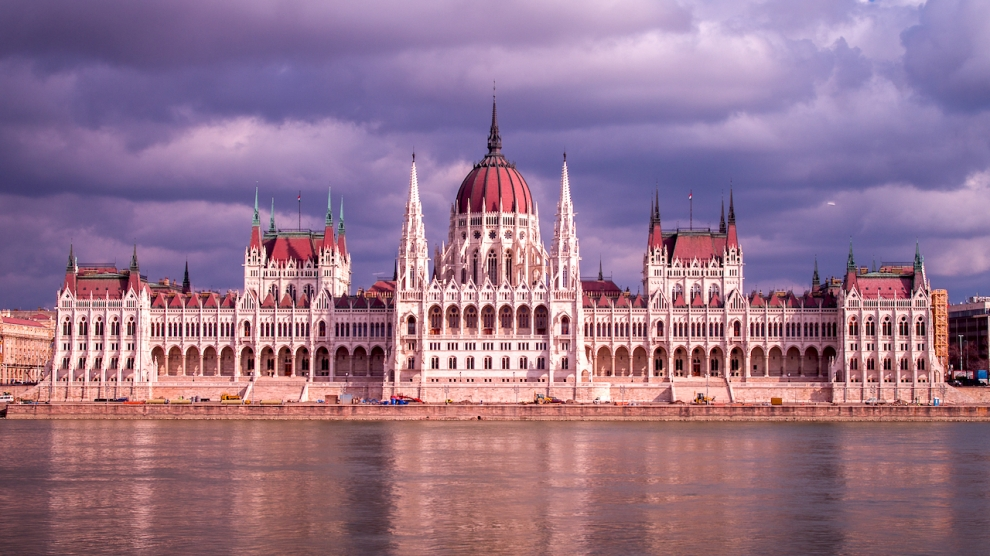 Cloudy skies above the Hungarian Parliament Building Budapest.