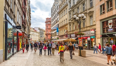 PRAGUE, CZECH REPUBLIC - 21 JUNE 2014: People on the streets of Prague, Czech Republic. Prague is one of the most visited city in Europe with over 5 million visitors every year.