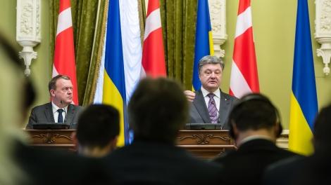 President of Ukraine Petro Poroshenko and Prime Minister of the Kingdom of Denmark Lars Lokke Rasmussen during a meeting in Kiev Ukraine