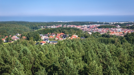 Aerial view from mount Donas hill on Gdynia city in Poland