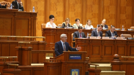 BUCHAREST ROMANIA - June 21 2017: Liviu Dragnea President of Social Democrat Party speaks in front of Parliament during a no-confidence vote against Sorin Grindeanu's Cabinet.