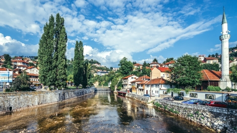Sarajevo Bosnia and Herzegovina - August 23 2015. View of Miljacka River in Sarajevo city