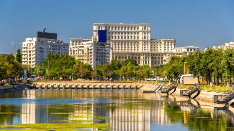 View of Palace of Parliament in Bucharest Romania