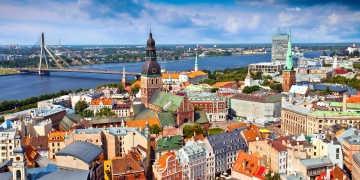 Riga, Latvia - August, 2010: Panorama view from Riga cathedral on old town of Riga, Latvia