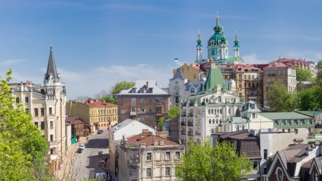 Panorama of the top part of the Andrew's Descent from Castle Hill in springtime in Kiev Ukraine.