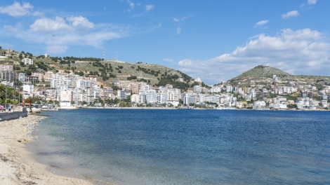SARANDA, ALBANIA - MAY 18: View of the city Saranda, most important tourist attraction of the Albanian Riviera on May 18, 2017 in Saranda, Albania.