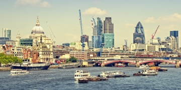 City of London view from Waterloo Bridge. This view includes: St. Paul`s Cathedral The Gherkin Tower 42 and Blackfriars Bridge.