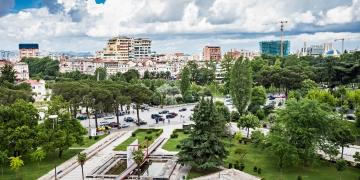 Panorama view to the city Tirana Albania
