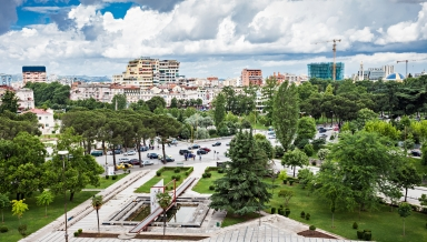 Panorama view to the city Tirana Albania