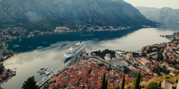cruise ship in Kotor Bay Montenegro. Aerial view panorama. Kotor bay Montenegro.