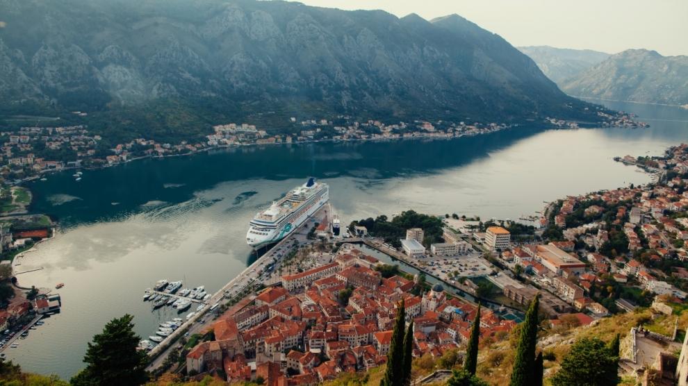cruise ship in Kotor Bay Montenegro. Aerial view panorama. Kotor bay Montenegro.