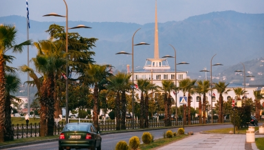Batumi, Adjara, Georgia - May 27, 2016: Batumi, Adjara, Georgia. Gogebashvili Street Road And Marine Station Or Maritime Station Building Batumi On Background