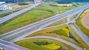 Aerial view of Gliwice Sosnica motorway junction. There are international traffic in four directions