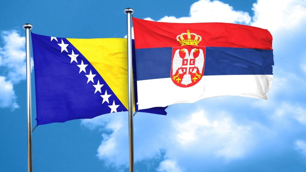 Bosnia and Herzegovina flag with Serbia flag, 3D rendering