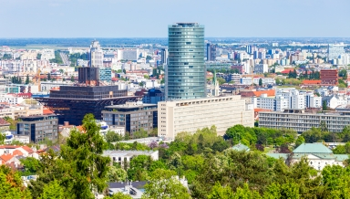 Bratislava city aerial panoramic view. Bratislava is the capital of Slovakia.