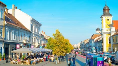 CLUJ NAPOKA ROMANIA - OCT 2 2016: People on the central street of Cluj Napoka - the unofficial capital of Transylvania.
