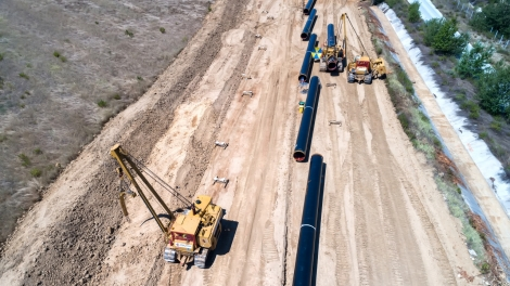Xanthi. Greece - July 30 2017: aerial view of construction of gas pipeline Trans Adriatic Pipeline - TAP in north Greece. The pipeline starts from the Caspian sea and reaches the coast of southern Italy