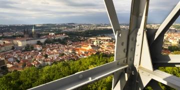Construction of the Petrin lookout tower in Prague Czech Republic