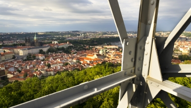 Construction of the Petrin lookout tower in Prague Czech Republic
