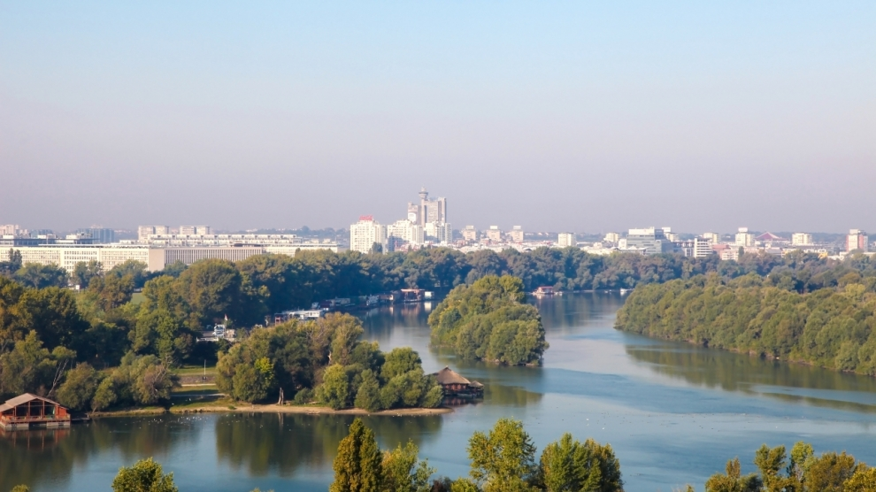 BELGRADE SERBIA - SEPTEMBER 29 2016: View on the city center and the junction of Rivers Sava and Danube in Belgrade Serbia.