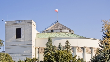 Classical building of Polish parliament. Warsaw in Poland.