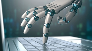 Robotic hand accessing on laptop the virtual world of information. Concept of artificial intelligence and replacement of humans by machines.