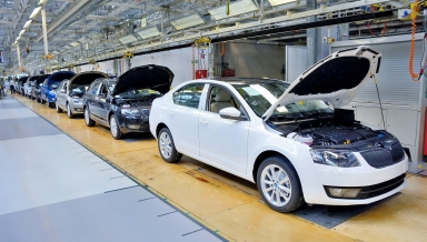 MLADA BOLESLAV CZECH REPUBLIC - MAY 30: Skoda Octavia on conveyor line during Doors Open Day at Skoda Auto a.s. factory. Skoda auto celebrated 120 years since its founding on May 30 2015 in Mlada Boleslav.