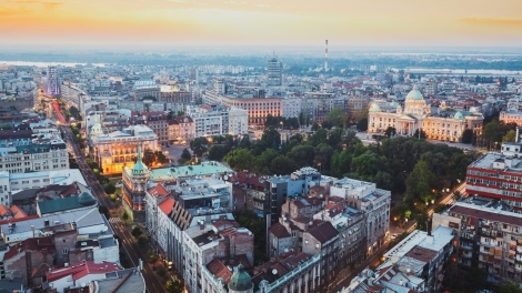 Belgrade, Serbia, July 22, 2017.Belgrade cityscape at sunset with national assembly, aerial view