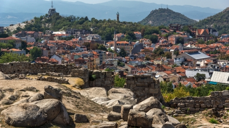 Amazing Panorama to City of Plovdiv from nebet tepe hill, Bulgaria