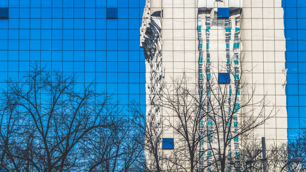 Reflection of a Soviet building in Chisinau Republic of Moldova