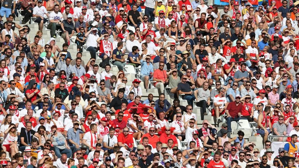 MARSEILLE FRANCE - JUNE 21 2016: People watch football match at Tribunes of Stade Velodrome during UEFA EURO 2016 game Ukraine v Poland