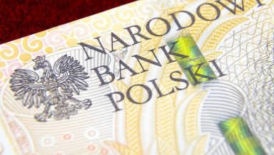 Money of National Bank of Poland. Polish zloty banknote on red velvet background; Macro photo; Depth of field