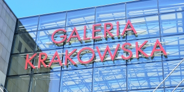 KRAKOW POLAND - JUNE 2017: logo of Galeria Krakowska shopping center.