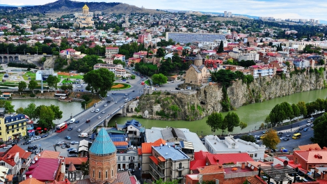 TBILISI GEORGIA - SEPTEMBER 28: Top view of Tbilisi downtown Georgia on September 28 2016. Tbilisi is a capital and largest city of Georgia.