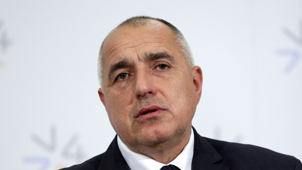 Prague Czech Republic - February 15 2016: The Prime Ministers of Bulgaria Boyko Borissov is speaking during a press conference after meeting of The Visegrad Group (V4) in Prague Czech Republic.