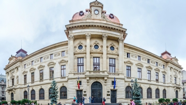 BUCHAREST ROMANIA - MAY 25 2014: The National Bank of Romania (BNR) building palace designed by Albert Galleron and Cassien Bernard.